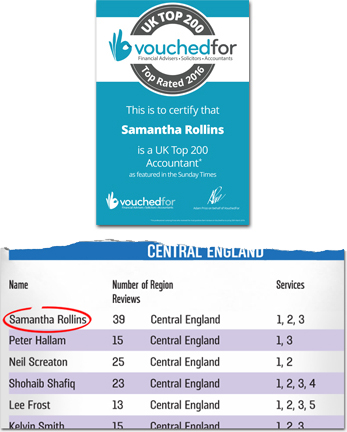 Sam Rollins Rated a 2016 Top UK Accountant by VouchedFor